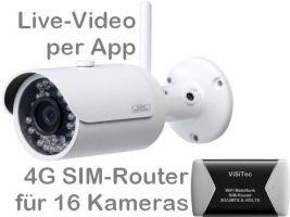 238.022 4G/LTE 3G/UMTS Mobilfunk-Überwachungskamera-Set. Live-Video, Aufzeichnung, Bewegungsalarm per Handy-App oder PC. Inkl. SANTEC 3MP Outdoor-Kamera BW304 und SIM-Router für 16 Kameras. Ideal für Baustelle, Stall, Ferienhaus