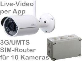 238.012 SANTEC 3G UMTS Outdoor Mobilfunk-Überwachungskamera-Set. Live-Video, Aufzeichnung, Bewegungsalarm per Handy-App oder PC. Inkl. 3MP Kamera BW304 und SIM-Router für 10 Kameras. Ideal z.B. für Stall, Baustelle (Zeitraffer), Boot, Wochenendhaus
