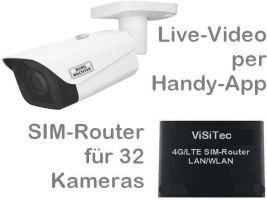 238.03 SANTEC 4G LTE Mobilfunk-Baustellenkamera-Set. Live-Video, Aufzeichnung, Handy-App, Zutritts-Alarm per virtuellem Stolperdraht. Inkl. 4MP Outdoor Weitwinkelkamera und SIM-Router für 32 Kameras. Ideal als Baustellenkamera, Bau-Dokumentation mit Zeit
