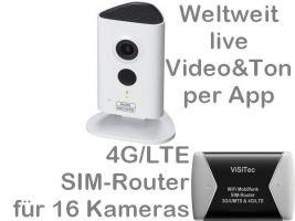 238.011 4G/LTE 3G/UMTS Mobilfunkkamera-Set: Weltweit Live-Video mit Ton, Aufzeichnung, Bewegungsalarm, SANTEC 3MP Nachtsichtkamera BW3020 mit LTE-Router (bis 16 Kameras mit einer SIM-Card), Zugriff per Handy-App/PC. Ideal für z.B. Ferien-/Wochenendhaus