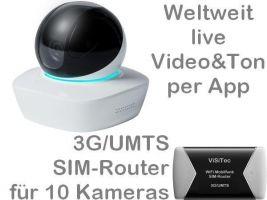 238.001 3G/UMTS Mobilfunk-Stallkamera Set: Weltweit Live-Video mit Ton, Aufzeichnung, Bewegungsalarm, HD-Nachtsichtkamera DA3010 mit UMTS-Router (bis 10 Kameras mit einer SIM-Card), Zugriff per Handy-App. Ideal für z.B. Stallungen, Ferien-/Wochenendhaus
