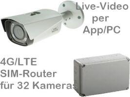 238.034 4G/LTE 3G/UMTS Outdoor Mobilfunk-Baustellenkamera Set. Live-Video, Aufzeichnung, Zutrittsalarm, per Handy-App oder PC. SANTEC 4MP Motor-Zoom-Kamera und SIM-Router für 32 Kameras. Ideal zur Überwachung von Baustellen, Dokumentation und Zeitraffer