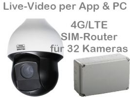 238.039 4G/LTE 3G/UMTS Outdoor Speed-Dome Mobilfunk-Überwachungskamera Set. Live-Video, Aufzeichnung, Zutrittsalarm, per Handy-App oder PC. SANTEC 2MP 25xZoom PTZ-Kamera und SIM-Router für 32 Kameras. Ideal zur Überwachung von Baustellen