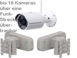 238.11 ViSiTec WLAN-Richtfunkstrecke für Entfernungen bis 3km im Set mit IP-Überwachungskamera DA304. Weltweit Live-Video per Handy-App oder PC. Optional: Per LAN-Switch und/oder WLAN-Hotspot lassen sich bis 16 Kameras verbinden